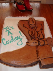 Cowboy Boot Cake | The Baby Rodeo | BettyCupcakes.com #babyshower #cowboy #books